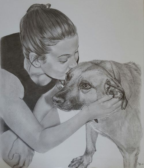 Not only man's best friend 😊 Womansbestfriend  Myartwork People Pencil Sketch  Togetherness DogLove Familymember