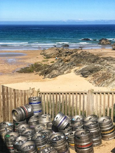 Beer Barrels at the Beach Beach Barrels Beer And Blue Sky Beach Bar Beach Beer Barrels Of Beer Beer Barrels Barrels