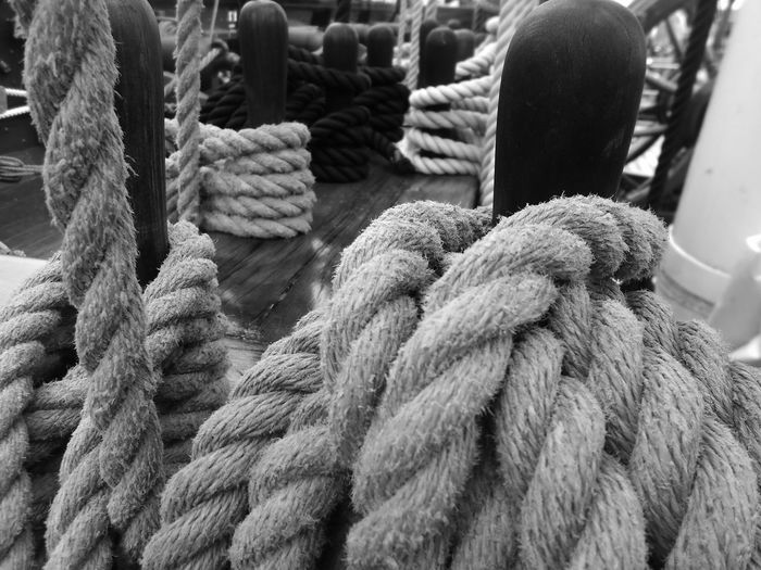Close-up of rope tied up outdoors