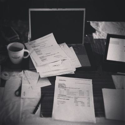 {instagram post} photographers = small biz owners. the tedious process of organizing receipts & billing clients - perfect for rainy Monday morning #photography #business #paperwork #aphotographerslife Paperwork Photography Business Aphotographerslife