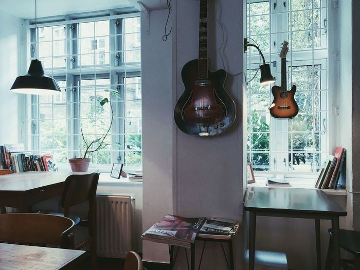 Copenhagen, Denmark Chill Work Homeoffice Window Guitar Cafe Indoors  Window No People Seat Table Chair Lighting Equipment Furniture Wood - Material
