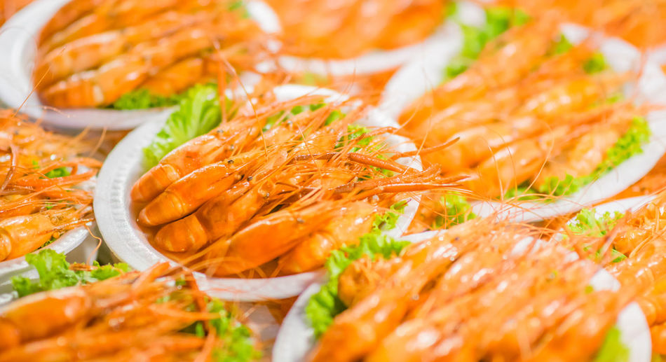 Close-up of fresh seafood in bowls