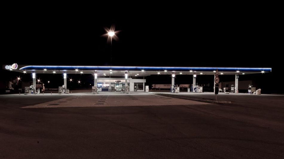 alone as gas station during night shift Night Illuminated Transportation No People Gas Station Night Lights Nightlife Alone Lonely Lonelyness Motorway Urban