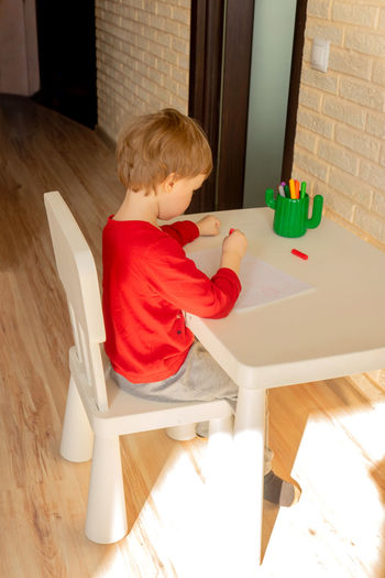 Boy playing with toy sitting on table at home