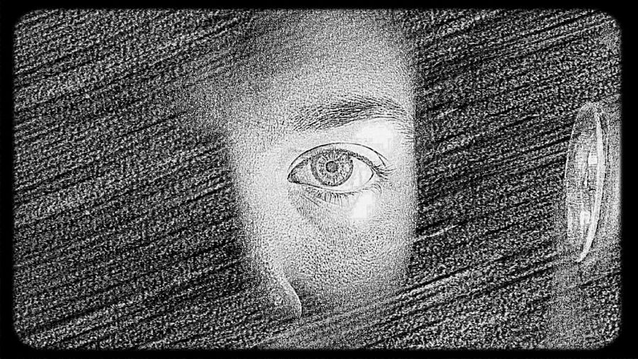 Black And White Self-Portrait Drawing EyeEm