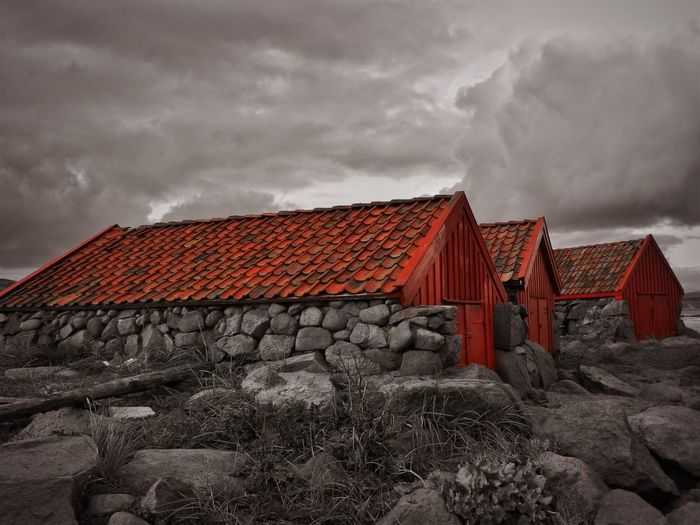 Norway Architecture Black And Red Colour Building Building Exterior Built Structure Cloud - Sky Day Dusk House Land Nature No People Outdoors Overcast Red Residential District Roof Roof Tile Sky Storm