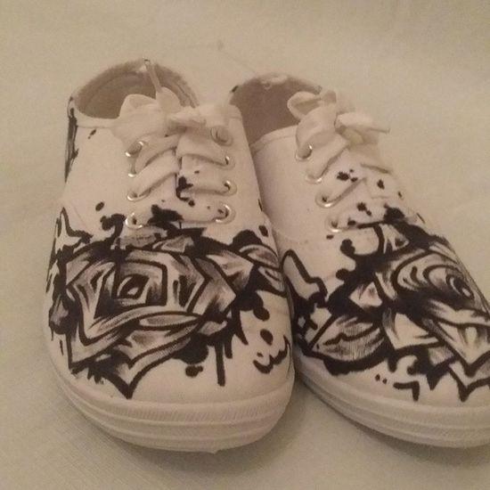 "For Sale: ""White Roses Custom Canvas Shoes, Womens Sz 8. DM for Serious Inquiries or Custom Work. California DOPE Astroids Dontsleep Somethingtodo 916 Custom Art Denimandmore"