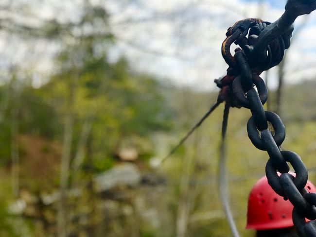 West Virginia Zipline Zip Line Focus On Foreground Metal No People Day Close-up Nature Strength Chain Outdoors Connection Plant Rope Selective Focus Tree Security Safety Black Color Water Protection Hook