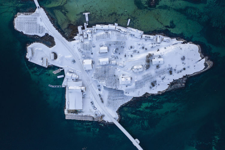 High angle view of snow covered island