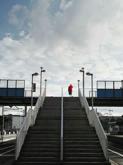 Feel The Journey Woman In Red Railwaystation Szczecin Poland Train Station