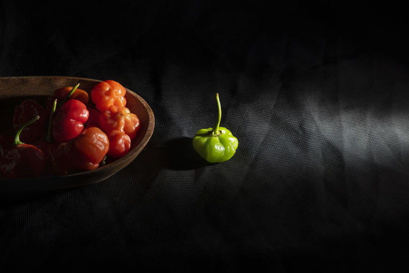 High angle view of fruits on table