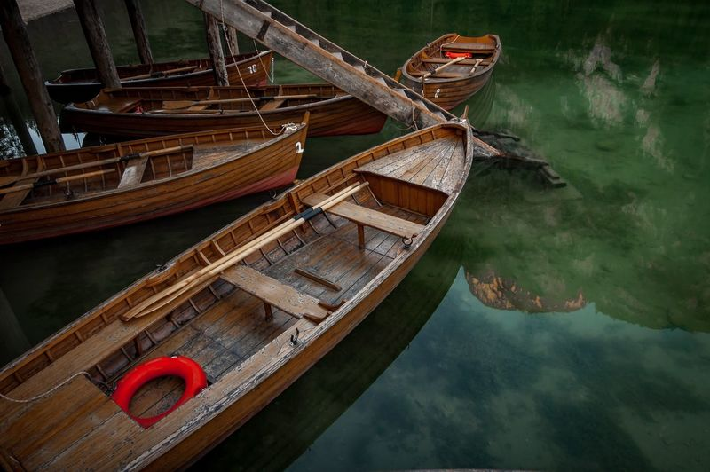 High angle view of boats moored in lake