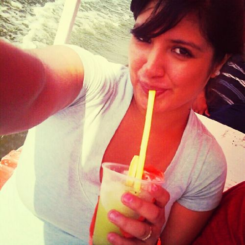 Eating Un Raspado De Kiwi