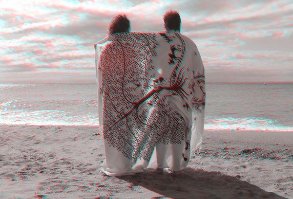 3D Beach 3D Glasses  Visualize With Anaglyph Glasses 3D Art Sea Textile 3D Photo