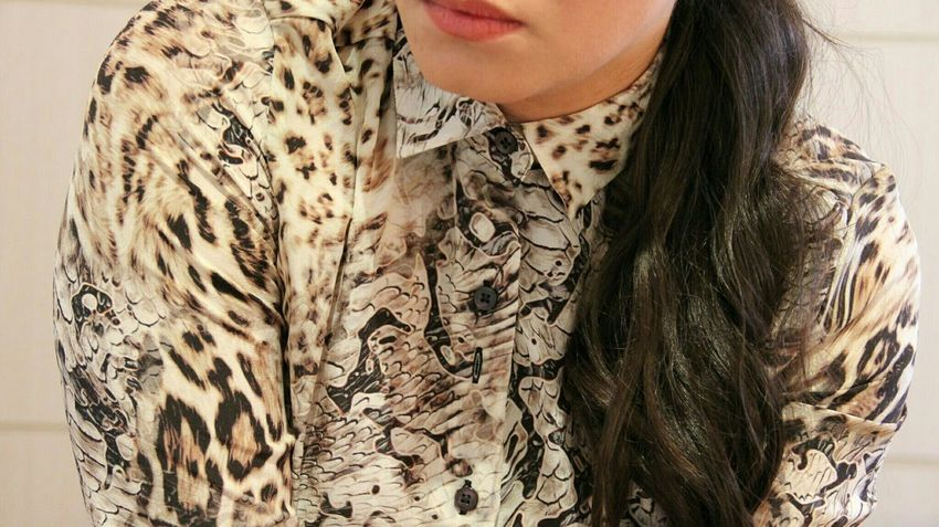 Button Up Striking Fashion Urban Fashion Color Portrait Animal Print Less Is More Canon60d Selfportrait using shutterbot app Remote Control Woman Portrait Woman Girl Animalprint Fashion Mouth Long Hair Elegant Pastel Power Girl Power Belo Horizonte Brazil Uniqueness