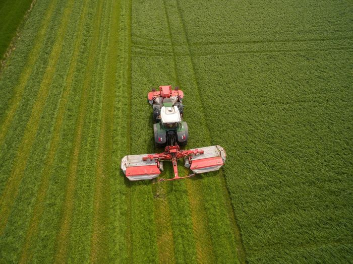 High angle view of tractor on field