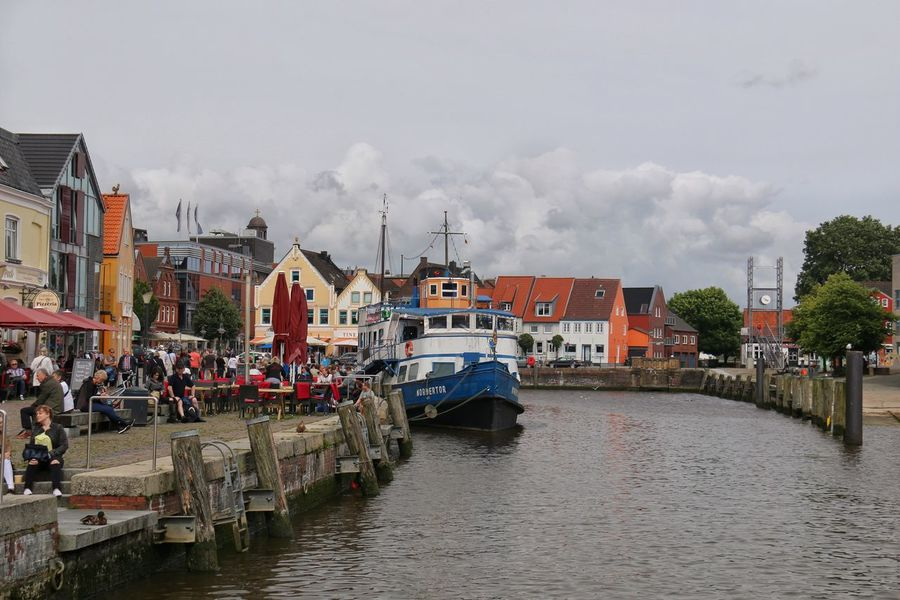 Clouds Approaching Husumer Hafen Flut High Tide Boats And Water Building Exterior Cityscapes City Life Hello World Taking Photos Enjoying Life Travel Destinations Summertime