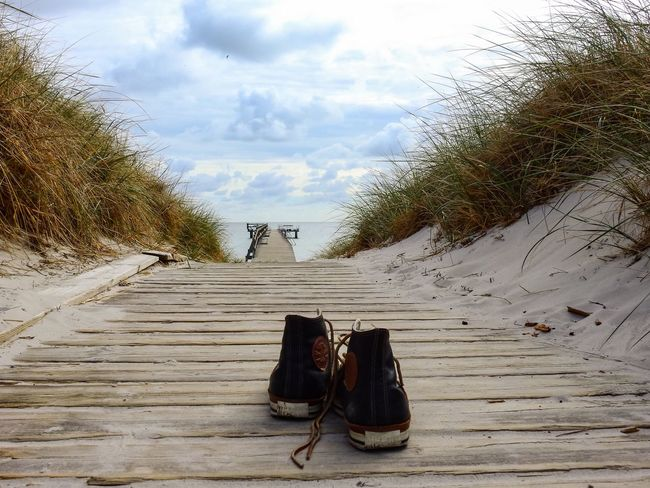 Goodbye Summer Converse Converse All Star Leather Shoes Sneakers All Star Shoes Sky Cloud - Sky Shoe Nature No People Day Plant Outdoors Beach Personal Accessory Beauty In Nature Water Absence Wood - Material High Angle View Pair