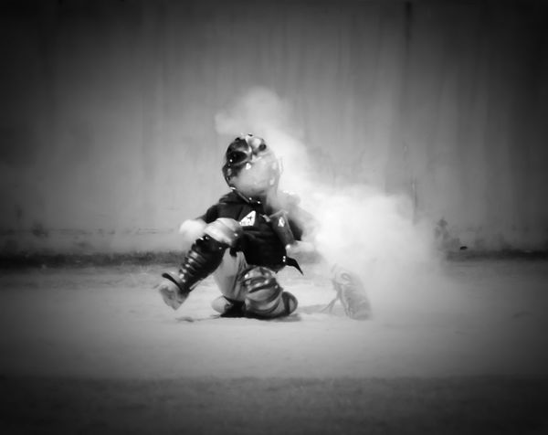Capture The Moment Catcher problems when you play fall ball in Texas! DUST!!! Baseball Catchers Life Childsplay Check This Out Baseballnights Snapshots Of Life EyeEm Best Shots - Black + White EyeEm BlackandWhite Monochrome
