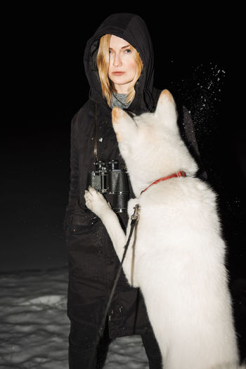 Wolf Gang Winter Night Snow Akita Dog Jump Binoculars Blonde Girl Straight Face Cold Temperature Freezing Dark Linas Was Here International Women's Day 2019