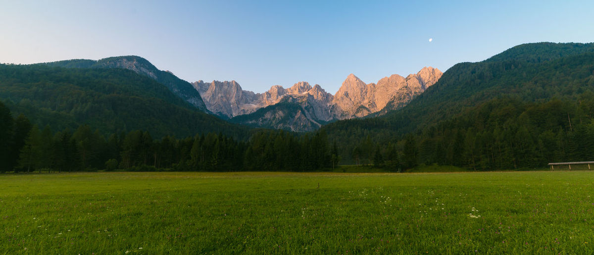 Julian Alps Beauty In Nature Countryside Forest Grass Grassy Green Color Idyllic Landscape Lush Foliage Majestic Morning Mountain Mountain Range Nature Outdoors Photography Remote Scenics Sky Slovenia Summer Sunrise Tranquility