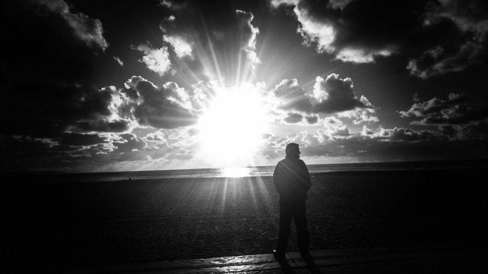 WatchingTheSun - RandomShots Sun Beach Clouds Sky Nature Sea