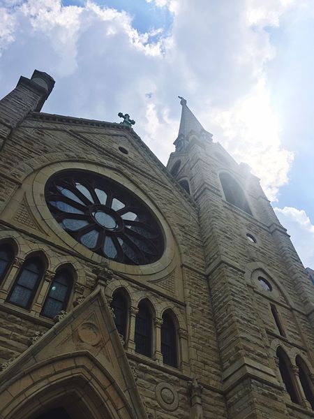Religion Architecture Sky Spirituality Cloud - Sky Built Structure Place Of Worship Church Architecture Church Chicago Building Exterior Beautiful Lookingup Cathedral Vintage Stone No People Daylight Cloudy Sunlight Bright Check This Out Window