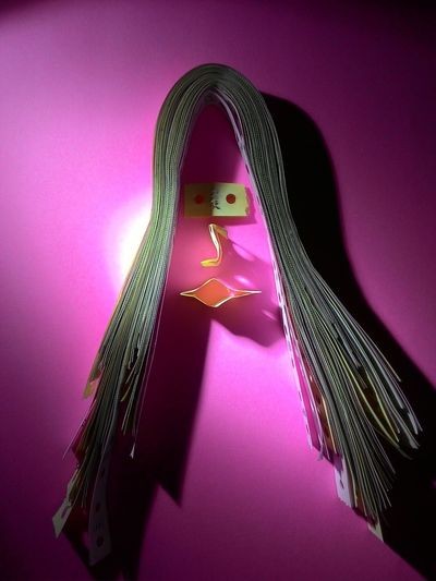 Indoors  Purple Red Pink Color Multi Colored Green Color Mask - Disguise Color Enhanced Creative Light And Shadow Paper Hair Paper Art