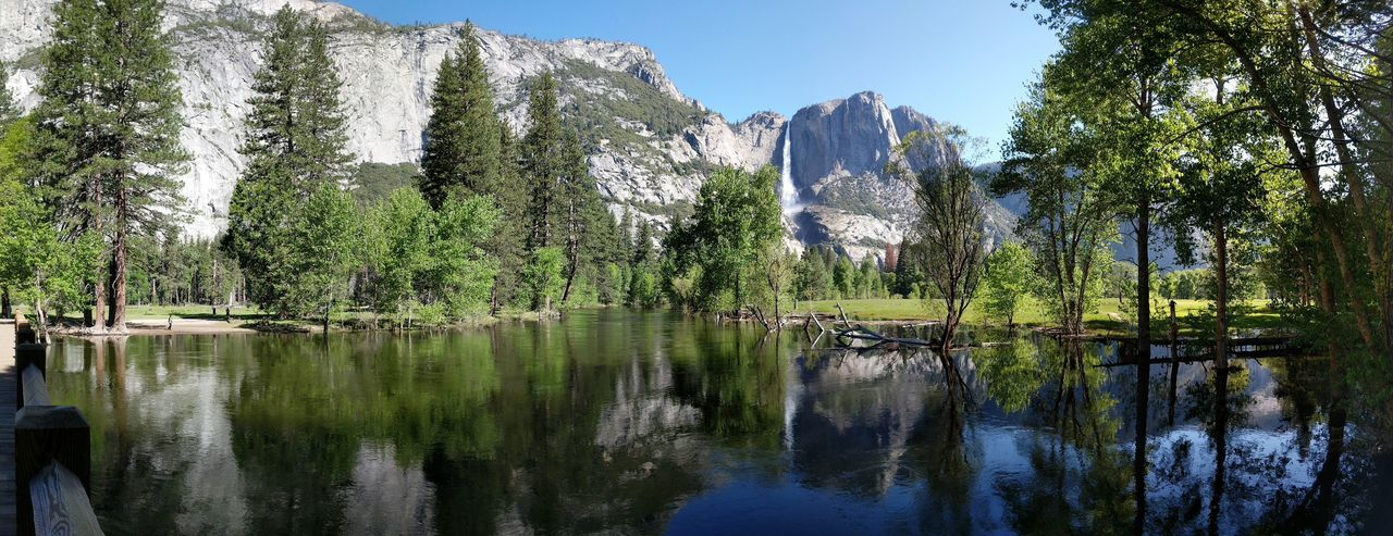 Reflection Outdoors Water Nature Beauty In Nature Travel Destinations Yosemite Falls Yosemite National Park California Iconic Landscape Landscape Granite Day Scenics Power In Nature Spring Sky Waterfall Summer Daylight Swinging Bridge Viewpoint Panorama