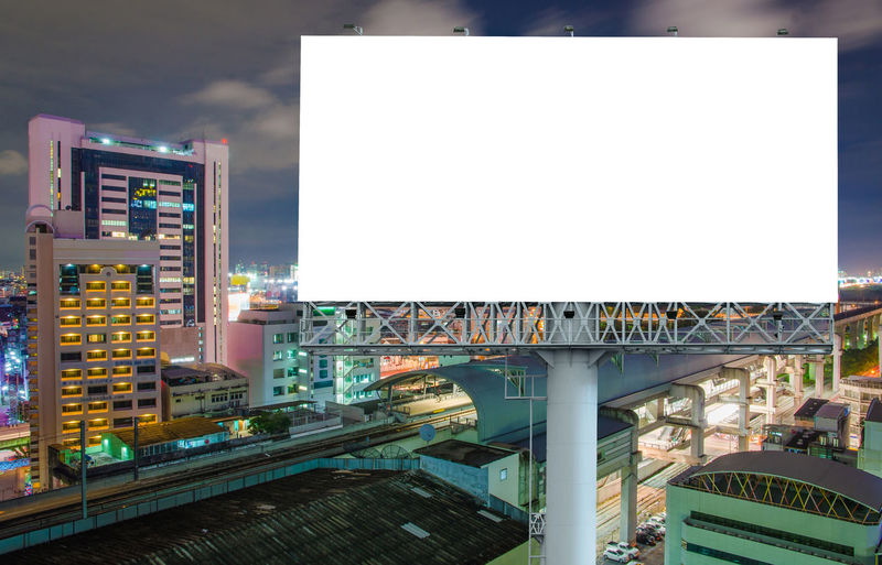 Building Exterior Architecture Built Structure Billboard Advertisement Sky City Copy Space No People Nature Communication Outdoors Building Illuminated Commercial Sign Day Lighting Equipment Cloud - Sky Blank Office Building Exterior Consumerism