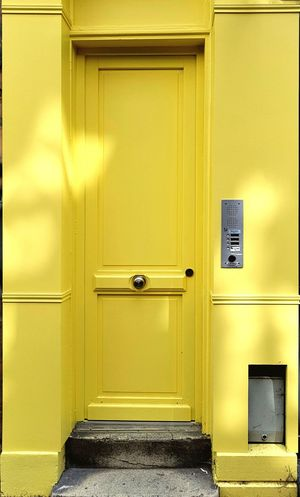 Safety Door Security Closed Yellow Protection Lock No People Wood - Material Day Architecture Close-up Paint The Town Yellow France Travel Destinations Lille The Week On EyeEm EyeEm Ready   The Graphic City Colour Your Horizn The Traveler - 2018 EyeEm Awards