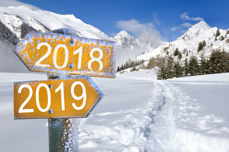 Winter Cold Temperature Snow Sign Nature Mountain Road Sign Guidance Snowcapped Mountain 2016 Way Path New Year Year Direction
