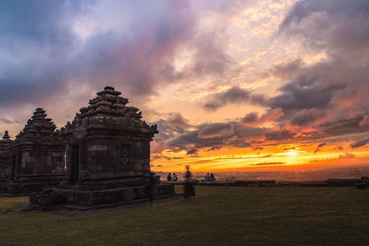 Ancient Ruins Building Cloud - Sky Jogjakarta Jogjakartatemple Landscape Red Red Sunset Sky Sunset Temple Travel Yogyakarta