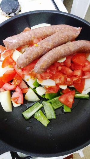 Food Process Red Shakshuka Hot Pot Pepper Raw Oil Hungry!