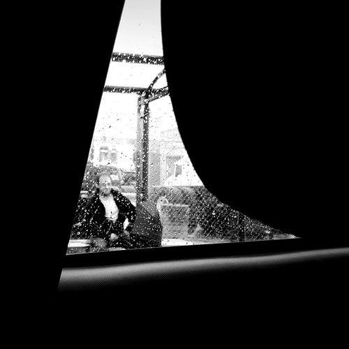 Bus Stop Rain Umbrella Raindrops Waiting Backseat Black And White Blandwhite Showcase: November