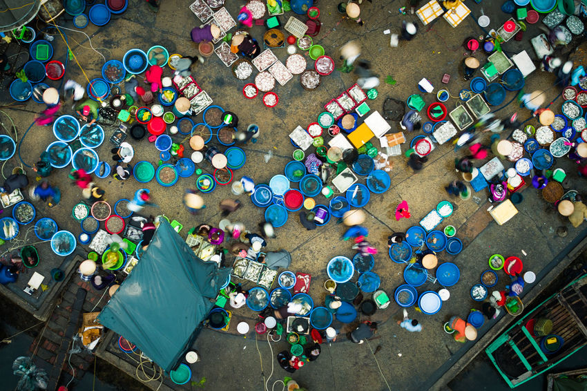 Bai Tu Long Bay Drone  Market Abundance Choice Day Dronephotography Fish High Angle View Large Group Of Objects Multi Colored No People Outdoors Variation