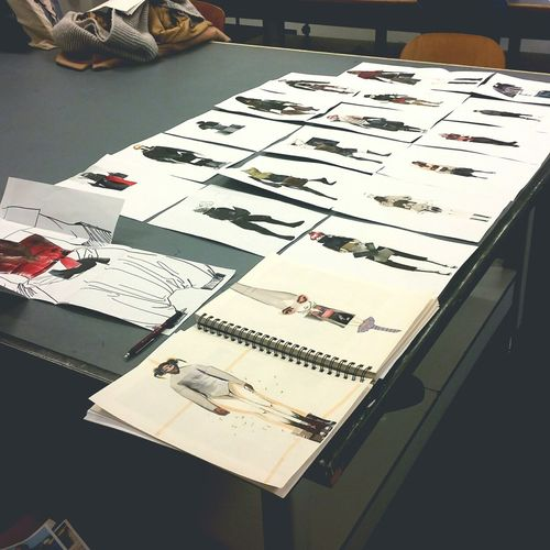 Desks From Above Student Life Fashiondesign Collage Creative Fun Sketch Insperation! University Düsseldorf Germany