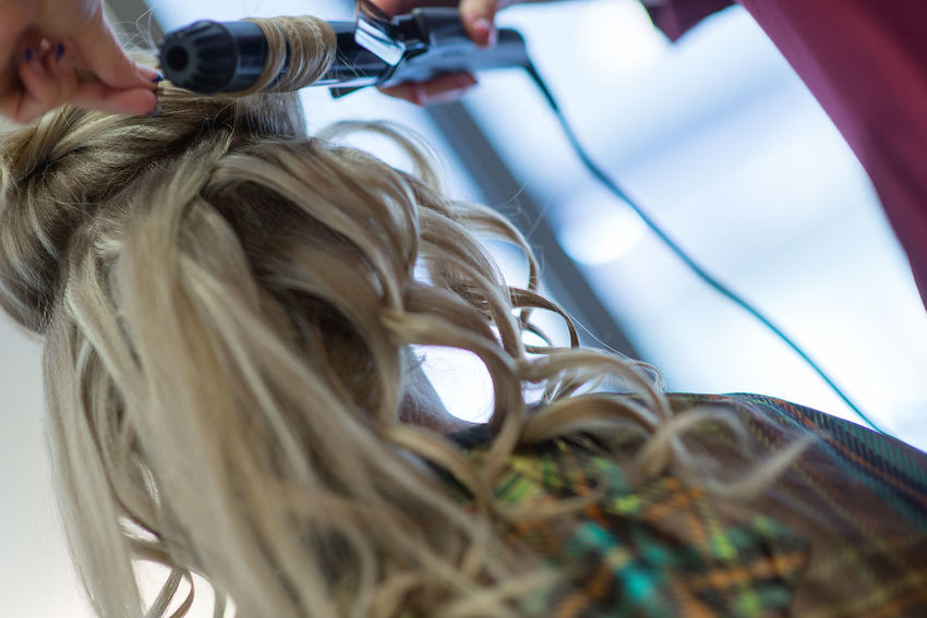 hairdresser forming hairstyles for bride Backgrounds Blond Hair Bride Celebration Close-up Curls Day Fashion Fashion And Style Hair Hair Curlers Hairdresser Hairstyle Headshot Human Hand Indoors  Lifestyles Low Angle View Morning People Real People Wedding Details Wedding Hair Wedding Photography Young Adult