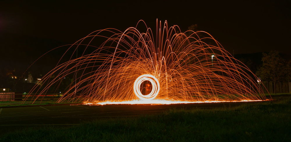 Circle Dark Glowing Illuminated Light Painting Light Trail Long Exposure Night Outdoors Spinning