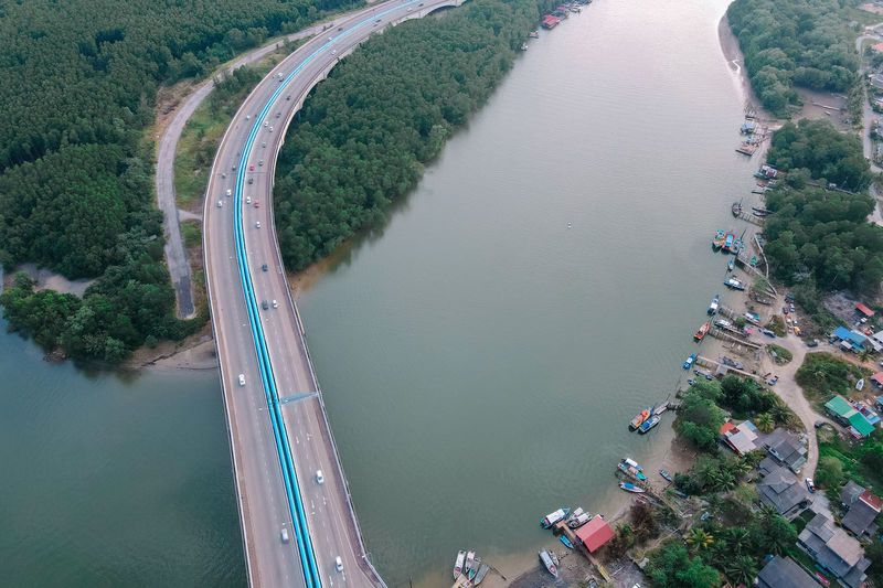 High angle view of river in city