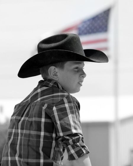 I love the slight edit on color in this pic of my son at the rodeo. Life In Kansas Country Living Horses USA FLAG