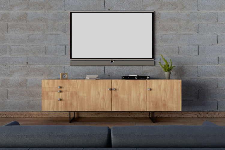 Television over cabinet at home