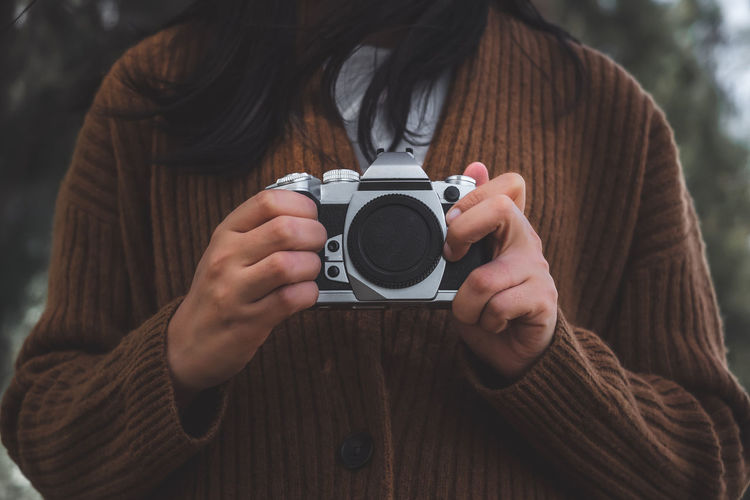 Holding Hand Camera Retro Vintage Hipster Young Woman Winter Sweater Cold Travel Capture Tomorrow Capture The Moment Capture Photography Lifestyle Background Cool Design Photographer Traveler Weekend Vacations Creative