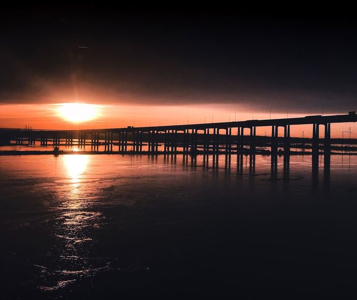 Sunset sea bridge Sunset Water Sunset Sea And Bridge Sunset Sea Bridge Water Sky Scenics - Nature Sunset Reflection Beauty In Nature Tranquil Scene Sea Tranquility Beach