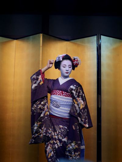 Gion kobu district Maiko Marika Kyo-mai dance on Stage, Gionkobu Kaburenjo theater Yasaka Club Gion in Kyoto. GX8 + LEICA D SUMMILUX 50mm No Flash Handheld 祇園甲部 舞妓 茉利佳さん Kyoto Photography Panasonic GX8 LEICA D SUMMILUX 25mm Kyo-mai ( 京舞 ) 祇園甲部 舞妓 Stage - Performance Space Portrait Portrait Of A Girl Stagephotography Beaty Of Nature Maiko Beautiful Girl One Person Real People Indoors  Standing Leisure Activity Lifestyles Front View Pattern Floral Pattern