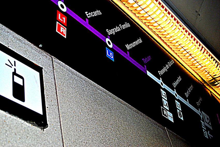 BCN subway Barcelona Metro SPAIN Communication No People Sagrada Familia Technology Text
