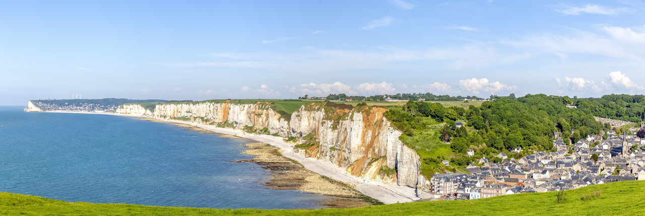 Coastline in Yport, France YPort Architecture Beach Beauty In Nature Blue Cloud - Sky Day Land Nature No People Normandy Outdoors Plant Scenics - Nature Sea Sky Tranquil Scene Tranquility Travel Destinations Tree Water