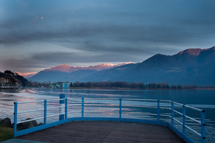 Beauty In Nature Cloud - Sky Cold Temperature Day Idyllic Iseo Lake Lake Langbart Lovere Lovere Lake Mountain Mountain Range Nature No People Outdoors Scenics Sky Snow Swimming Pool Tranquil Scene Tranquility Water Weather Winter