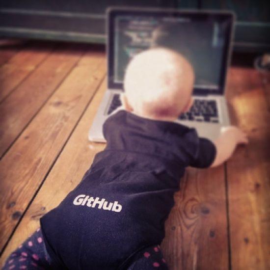 Awakening the GEEKNESS in her... Coding Some  Javascript , Pushing it to GitHub . doingitbabystyle code nerd geek onesie