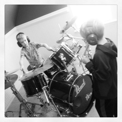 We can't come out and play. We're busy laying down a drum/recorder track. Drummer Drumstagram Familyband